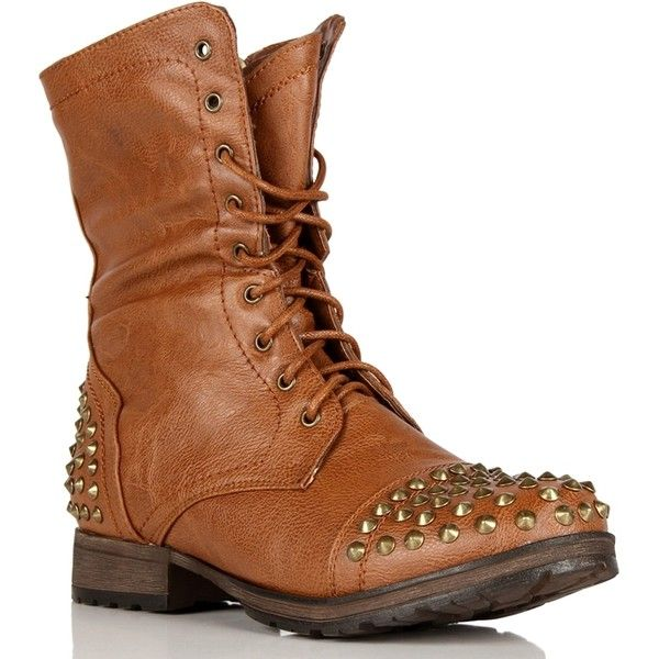Tan Lace Up Studded Combat Boots by None, via Polyvore