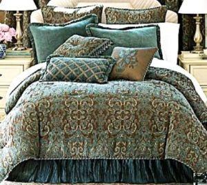 Chris Madden Jacquard Damask Comforter Set Brown Blue F