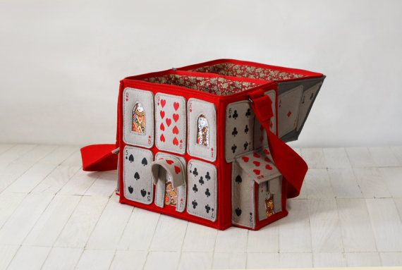 House Of Playing Cards Felt Bag Alice in by krukrustudio on Etsy