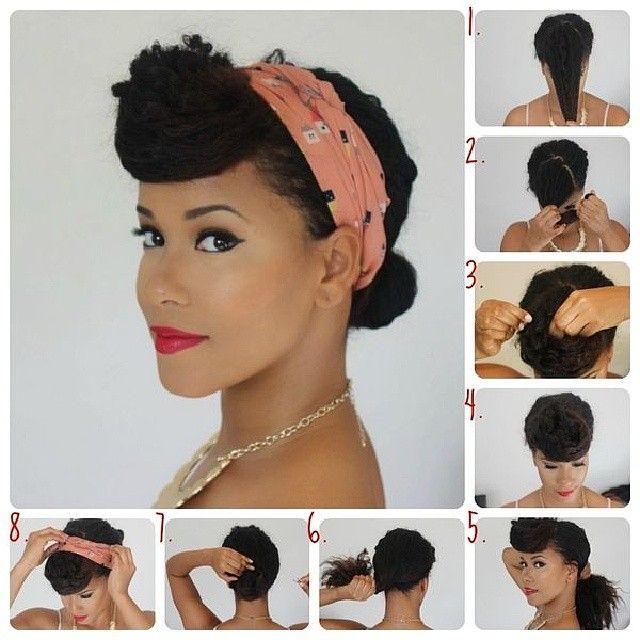 love! for curly hair retro updos  #curlyhair #pinup #blackpinup http://www.shorthaircutsforblackwomen.com/natural-hair-puff/