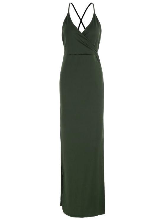 Backless High Split Surplice Maxi Club Dress ARMY GREEN: Maxi Dresses | ZAFUL