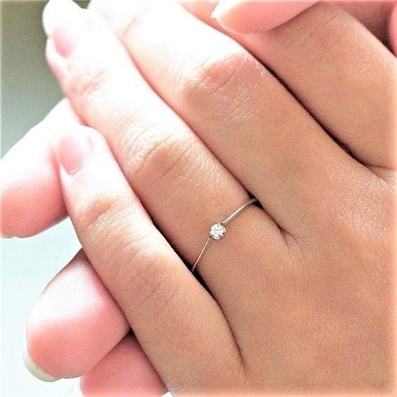 Dainty Diamond Ring Solid 14k 18k Gold Tiny Ring Small