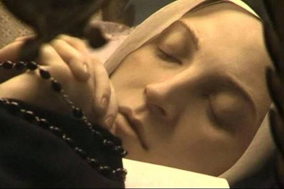 """Jan. 7: On this day in 1844, Bernadette Soubirous was born in Lourdes, France. Our Lady appeared to her in 1858, telling her, """"I am the Immaculate Conception."""" When dying in 1879, Bernadette said, """"Holy Mary, Mother of God, pray for me, a poor sinner."""" St. Bernadette's body is incorrupt to this day (see photo) and can be seen by the public at the convent in Nevers, France. Happy Birthday, Bernadette!"""