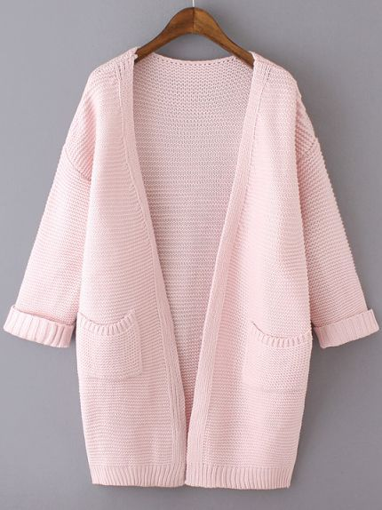 Pink Long Sleeve Pockets Knit Loose Cardigan