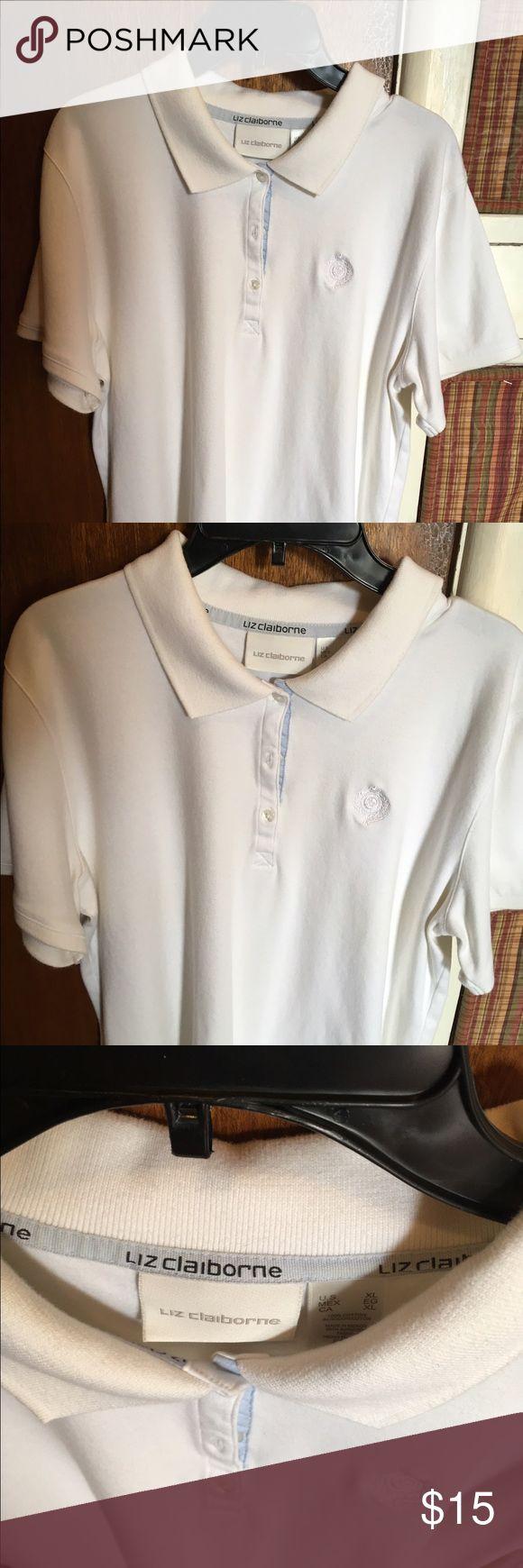 White Liz Claiborne polo White XL Liz Claiborne polo shirt. Gently worn no hole or stains. Liz Claiborne Tops Blouses