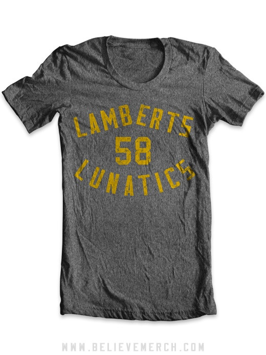 LAMBERTS LUNATICS - MENS    $28.99    Printed on 100% cotton Anvil 450 t-shirt. Click here for size chart