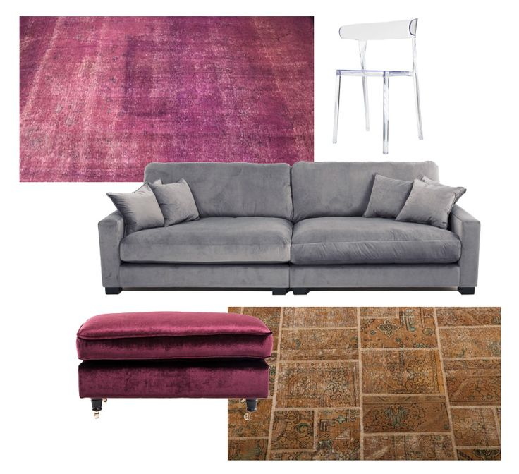 Valen soffa i grå sammet, Lejonet fotpall i lila sammet, plaststolen Mopsen i transparent och två vintagemattor. Sammetsmöbler, sammetssoffa, fotpall, vinröd, mässing, patchmatta, vintage, matta, polykarbonat, stol, plast, beige, rosa, inredning, vardagsrum, sovrum. http://sweef.se/