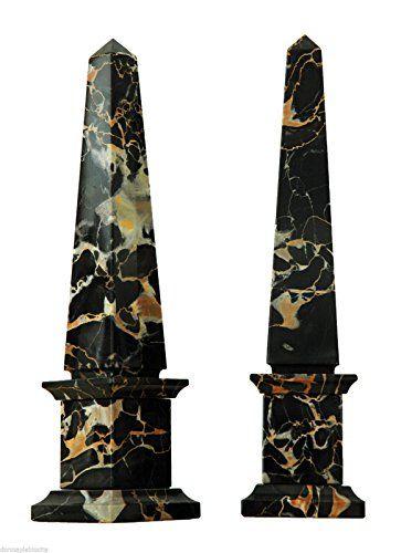COPPIA OBELISCHI in Marmo Portoro Art Marble Couple Obelisk Classic Sculpture Od Design H 40 cm
