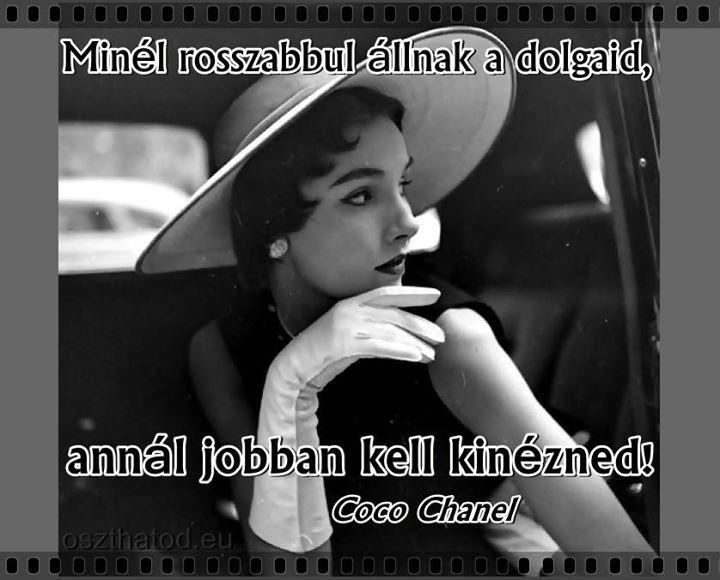 Coco Chanel idézete a külsőségekről. A kép forrása: oszthatod.eu # Facebook