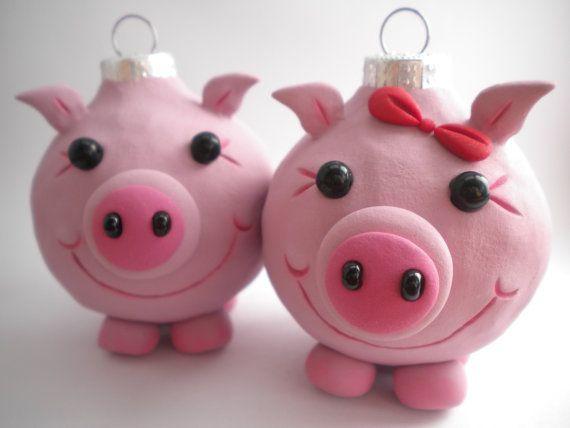 Pig Ornaments by Sleepydenas on Etsy