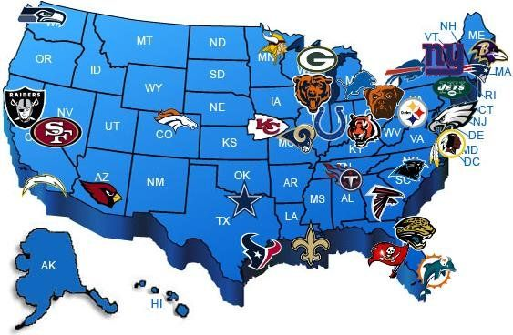 The Geography Of NFL Fandom The Atlantic Nfl Teams Map Map Of Nfl