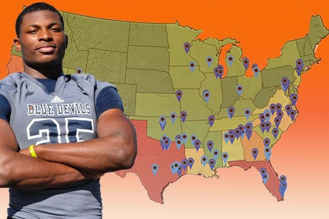 Where are the top college football recruits coming from? Check out this map and see if your state is representing!
