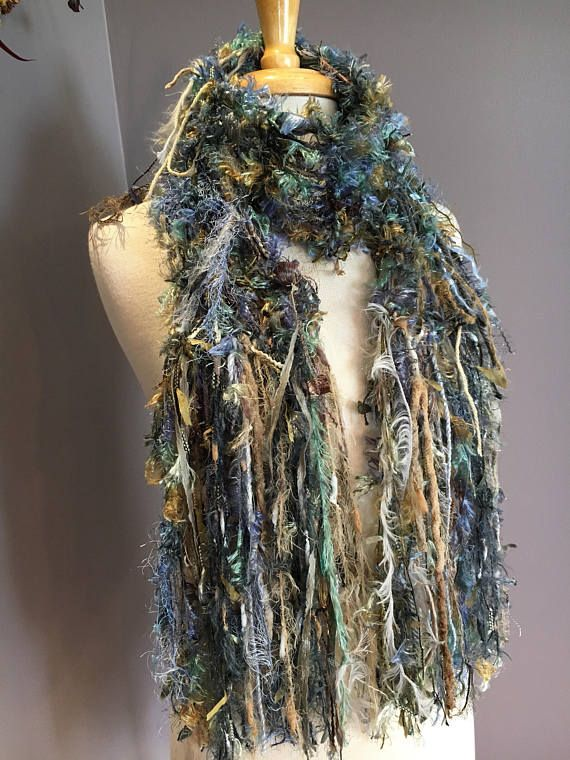 Knit Art Scarf Dumpster Diva Series 'Grass Roots'