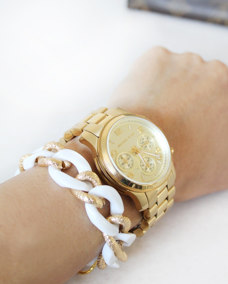 New Chain Link bracelets at MadeByGirl - shop for pretty thingsFashion Clothing, Style, Bracelets, Gold Watches, Michael Kors Watches, Accessories, White Gold, Arm Candies, Bright Colors