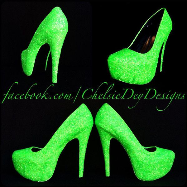 Glow in the Dark Neon Lime Green Rave Edm Edc Festival Glitter Pump... ($90) ❤ liked on Polyvore featuring shoes, pumps, black, women's shoes, neon pumps, lime green pumps, black bow shoes, black glitter shoes and high heeled footwear