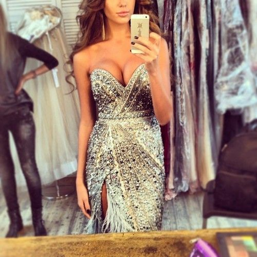 This would be a cute new years eve dress. silver sprakly