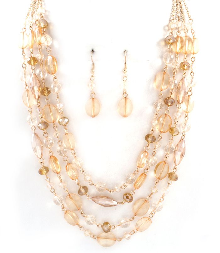Multi Strand Bobbi Necklace in Champagne on Emma Stine Limited