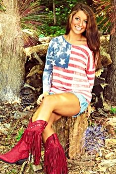 God Bless America! Gotta love this American flag top. Southern Fried Chics Southernfriedchics.com