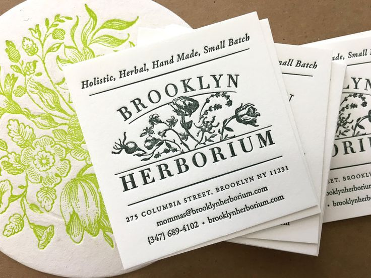 Some great, square letterpress business cards for a local business - letterpress business card