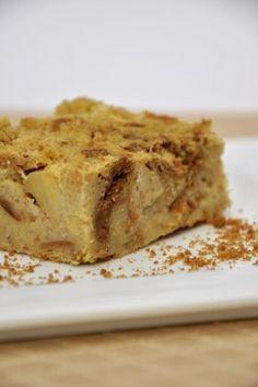 Broodpudding met appel en speculaas. HR: erg lekker!! Ik heb iets veranderd aan recept: Heel pakje puddingpoeder vanille gebruikt (77 gr) en minder suiker, 60 gr