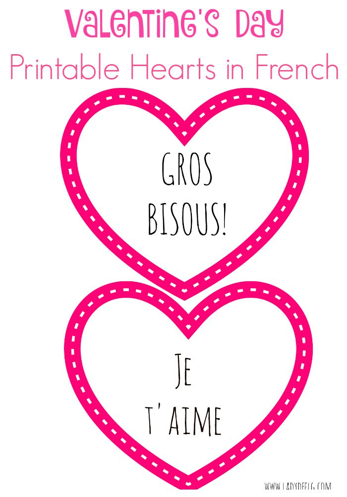 Valentine's Day Printable Hearts in French, free to print and share! Fun messages like GROS BISOUS and Je t'aime Pour imprimer gratuitement: Coeurs por la St. Valentin! Joyeuse St. Valentin!