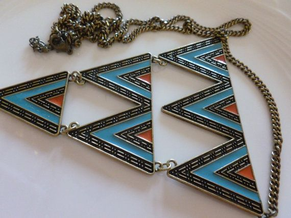 Vintage Geometric Retro Necklace Coral Blue and by MuskRoseVintage