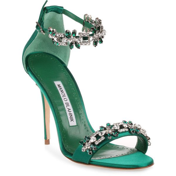 Firadou 105 Emerald Crystal Sandal ($1,235) ❤ liked on Polyvore featuring shoes, sandals, green, high heel stilettos, high heels sandals, high heel shoes, clear high heel shoes and ankle tie sandals