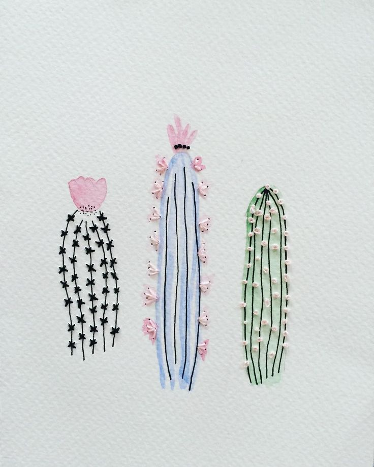 Embroidered watercolour cacti.                              …