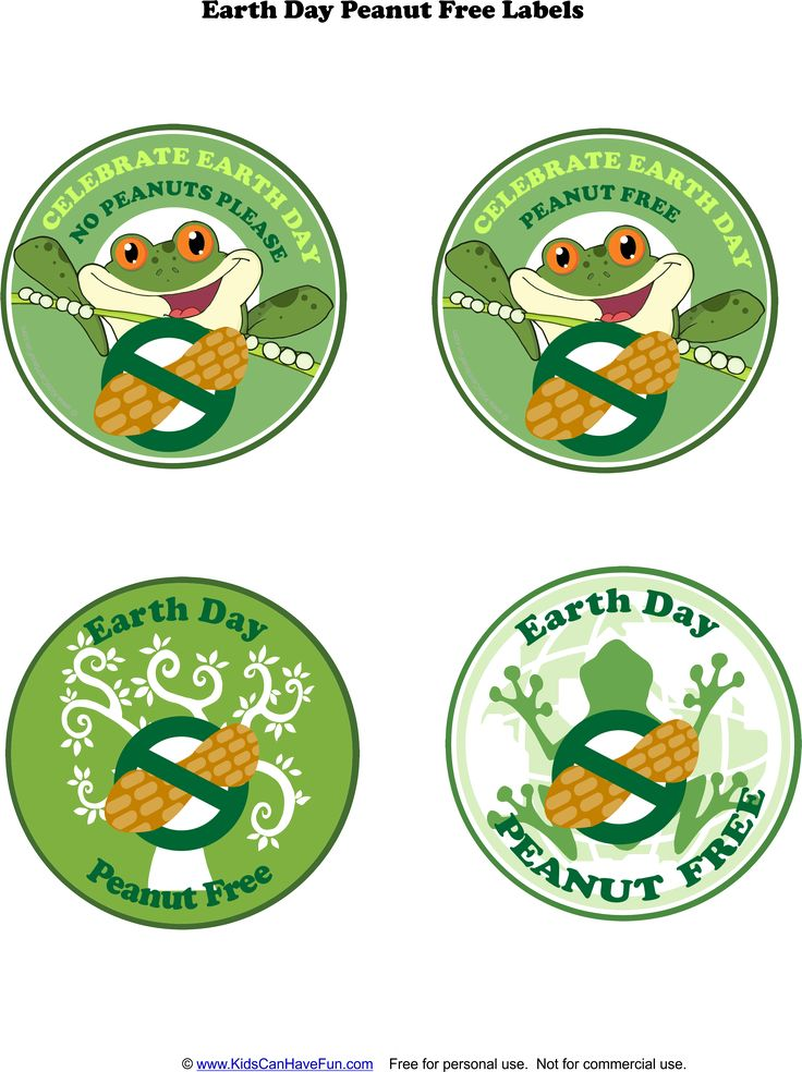 Earth Day Allergy Labels http://www.kidscanhavefun.com/food-allergy-printables.htm #allergy #peanutfree #earthday