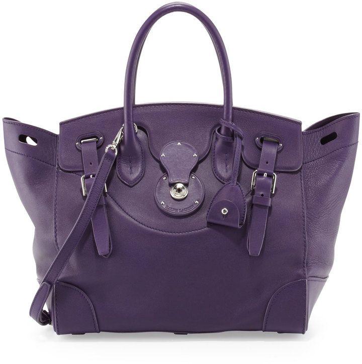 Ralph Lauren Soft Ricky 33 Calfskin Satchel Bag, Purple