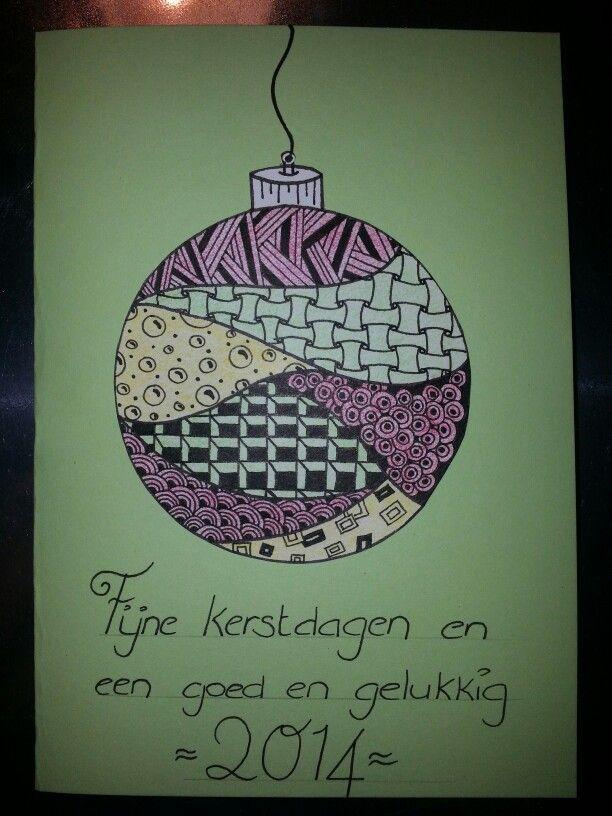 Christmas card Zentangle Kerstkaart