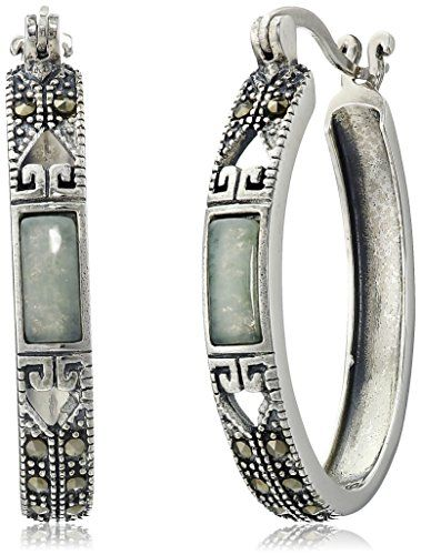 Sterling Silver Marcasite Green Jade Oval Hoop Earrings: