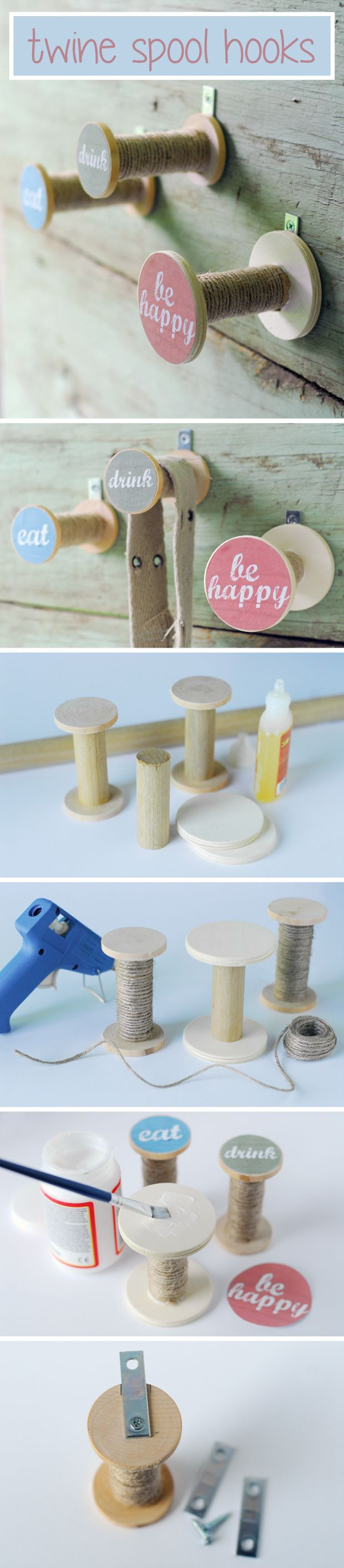 Upcycle empty (or almost empty) twine spools into cute hooks for around the house!  Eat, Drink and Be Happy Printables included! www.ehow.com/...