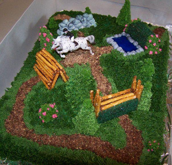 Cross Country Cake, Jumping Horse, Breyer Horse on Cake. Equestrian Cake.