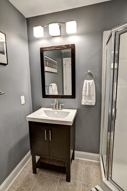 small basement bathroom remodeling design ideas with square mirror - Bathroom Remodel Designs
