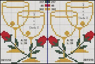 Trousseau Punkt Cruz von Nubia Cortinhas: Noivinhos, herzen, Allianzen ...