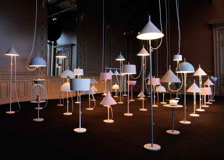 Swedish lighting brand Wästberg has unveiled an installation of 30 lamps created from a modular set of parts by Japanese designers Nendo.    The W132 group of components includes a circular base, two poles of different lengths and three different shades.