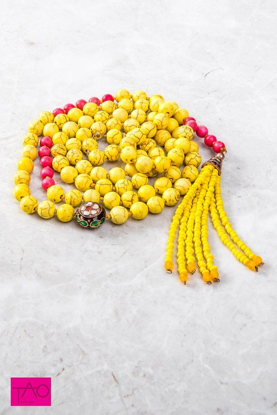Spiritual Mala, Yoga Boho Beads, Mala Necklace, Yellow Mala