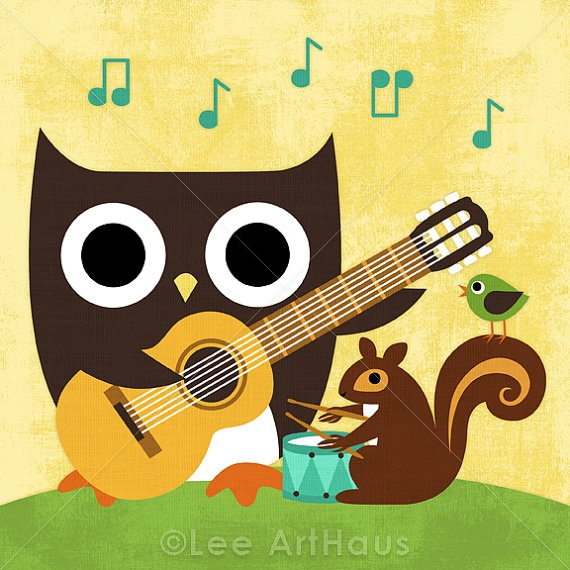 owl playing the guitar - photo #9
