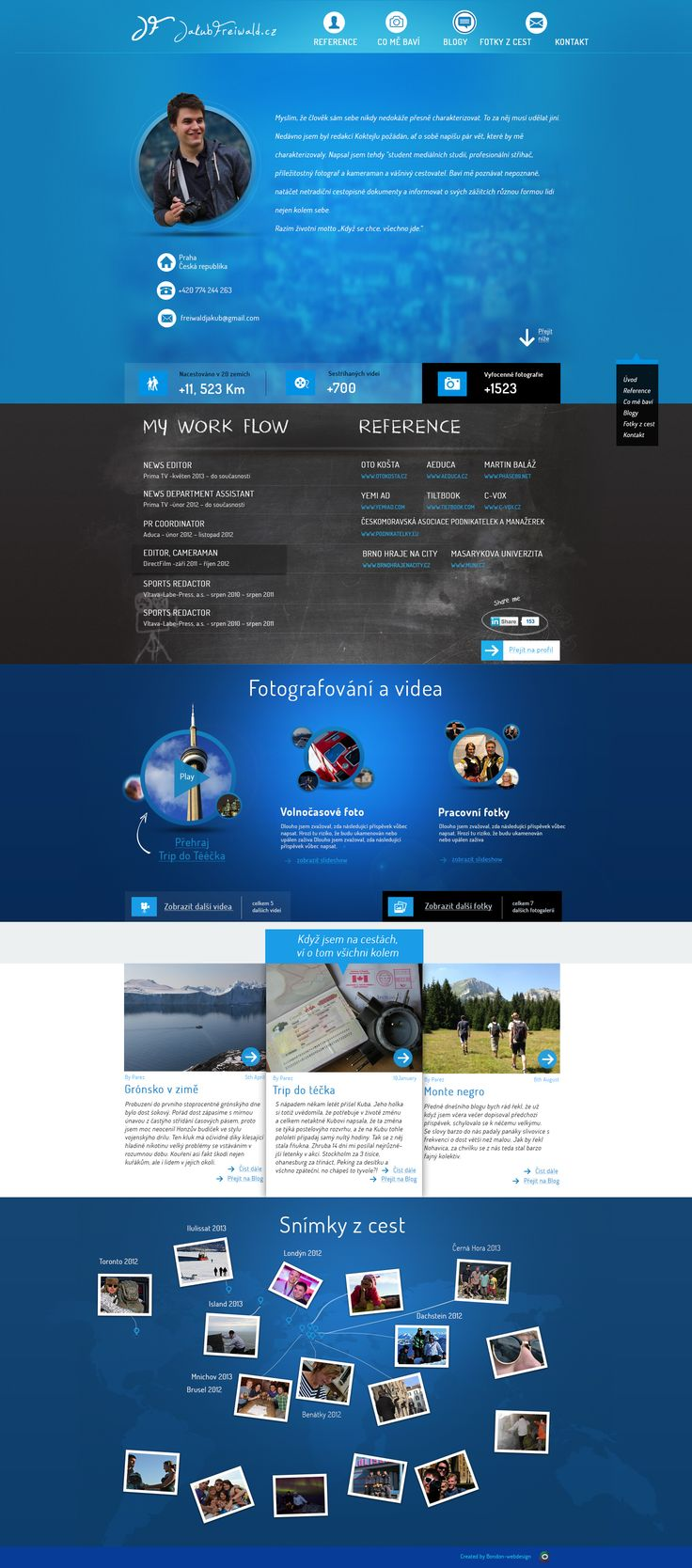 Landing page for crazy traveler, journalist and video editor