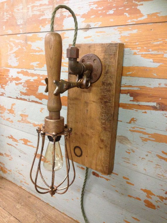 Vintage industrial style wall light by StesUpcycleWorkshop on Etsy