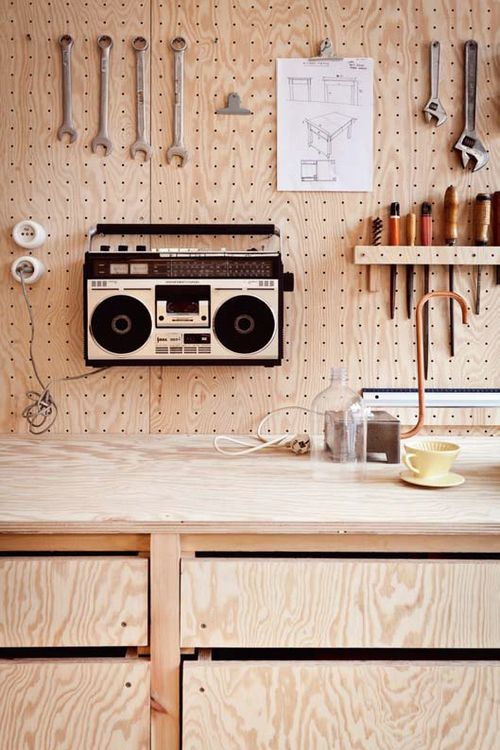 peg board #wood. Neat idea. Instead of hanging tools, you could hang objects according to your discipline. Love the old-school boombox.