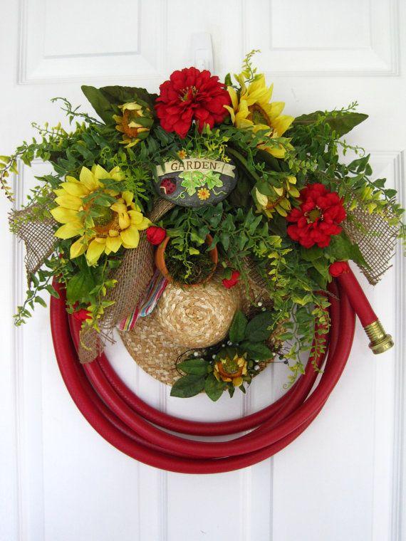 RED GARDEN HOSE Wreath Sunflowers Straw Hat Gloves by funflorals