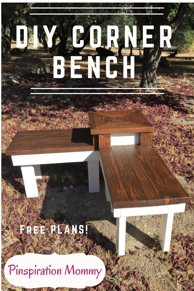 Free woodworking plans for building a farmhouse style corner bench with a built-in end table for displaying decorations or setting down your morning coffee!