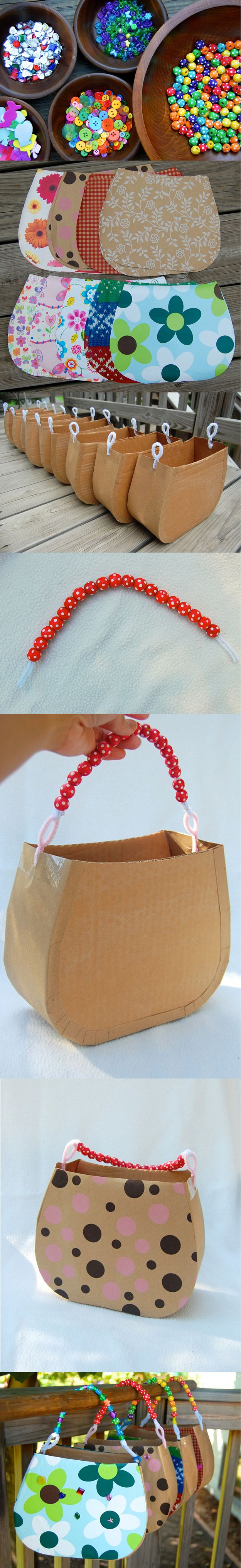 Cardboard Handbags   Cute and Fun Birthday Activities For Girls by Diy Ready http://diyready.com/19-awesome-birthday-party-craft-ideas-that-will-make-your-day-special/