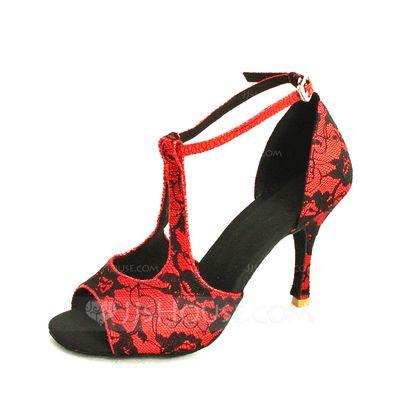 Donna Raso Pizzo Tacchi Sandalo Latino Scarpe da ballo (053024635)