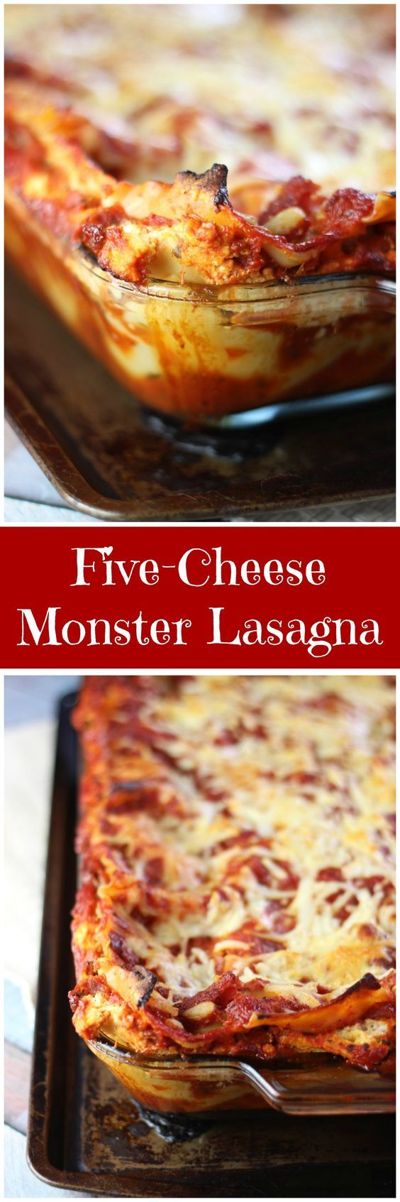 five-cheese lasagna pin We ditched the Ricotta cheese, made up for it with the other cheeses. Made my homemade spaghetti sauce. Super yummy. Will try with Zucchini noodles sometime