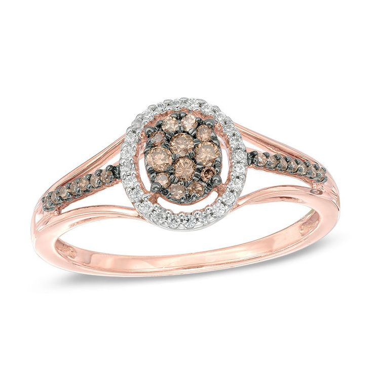 This 1/4 ct. t.w. champagne and white composite diamond oval frame split shank ring is fashioned in 10K rose gold.