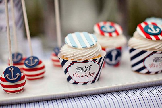 INSTANT DOWNLOAD - Nautical Baby Shower Cupcake Wrappers - Ahoy It's A Boy - PRINTABLE - By A Blissful Nest on Etsy, $6.00
