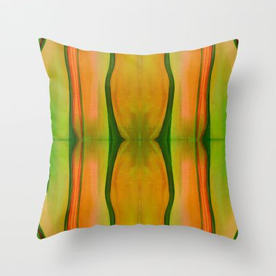 Green, Red & Yellow Throw Pillow by Alina Sevchenko - $20.00